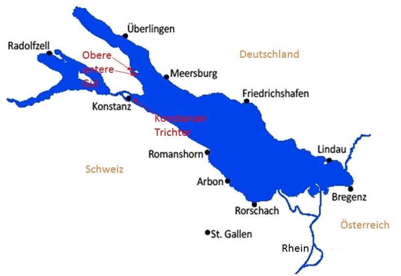 Übersichtkarte Ankerplätze Bodensee