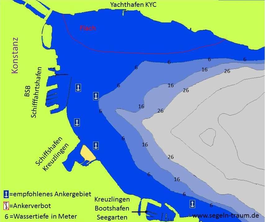 Seekarte Konstanzer Trichter Ankern Bodensee